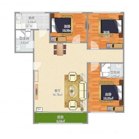超洋花园C13室1厅2卫1厨126.00㎡户型图