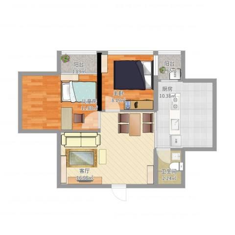 白金假日公寓2室1厅1卫1厨75.00㎡户型图