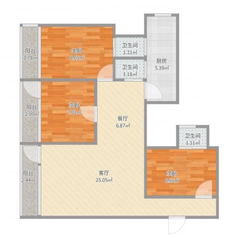 德兴大厦3室1厅3卫1厨86.00㎡户型图