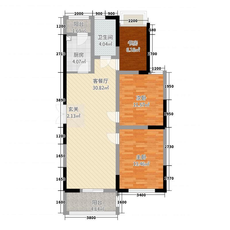 童宾景苑15.50㎡10595双阳台户型3室2厅1卫1厨