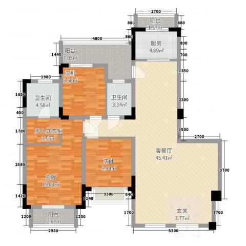 华南城・十里东岸3室1厅2卫1厨107.31㎡户型图