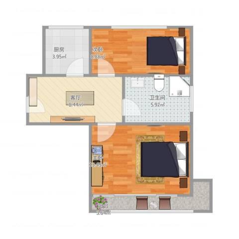 梅园三村2室1厅1卫1厨61.00㎡户型图