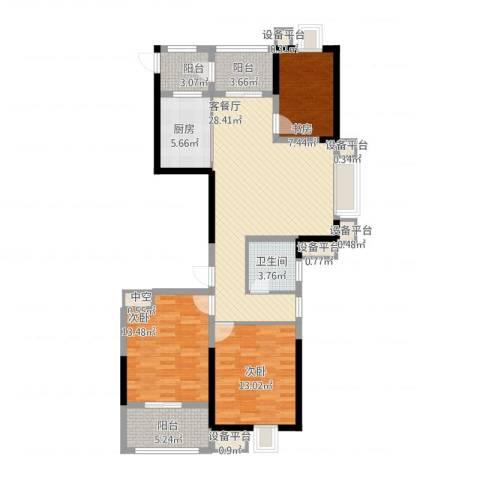 金都华府3室1厅4卫4厨127.00㎡户型图