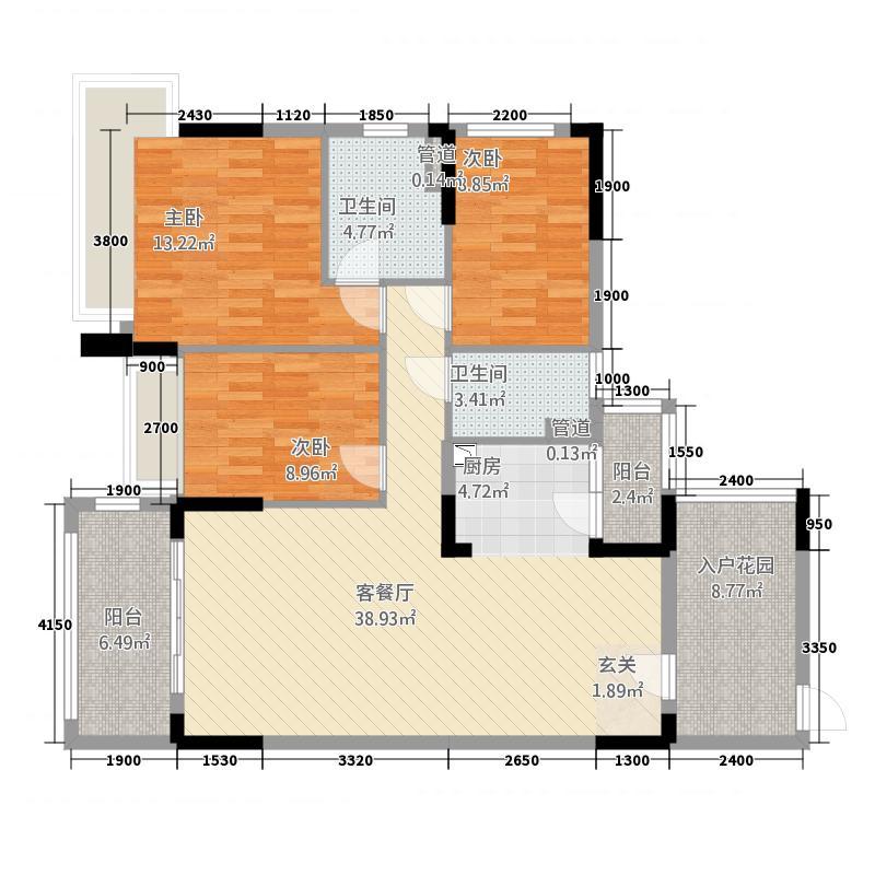 华南城十里东岸四期・绿卡112.72㎡d户型3室2厅2卫1厨