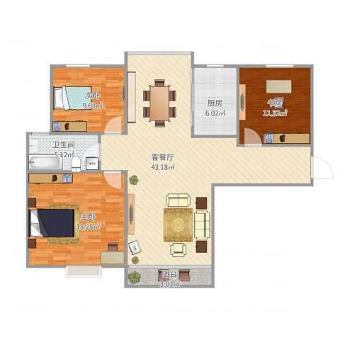 丽泽菊清苑1号701室103平3室1厅1卫1厨129.00㎡户型图