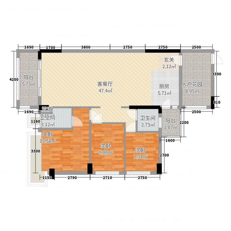 华南城十里东岸四期・绿卡116.62㎡A户型3室2厅2卫1厨