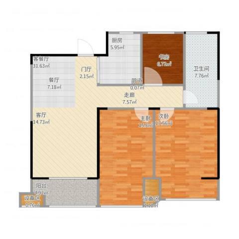 金地自在城3室1厅1卫1厨125.00㎡户型图