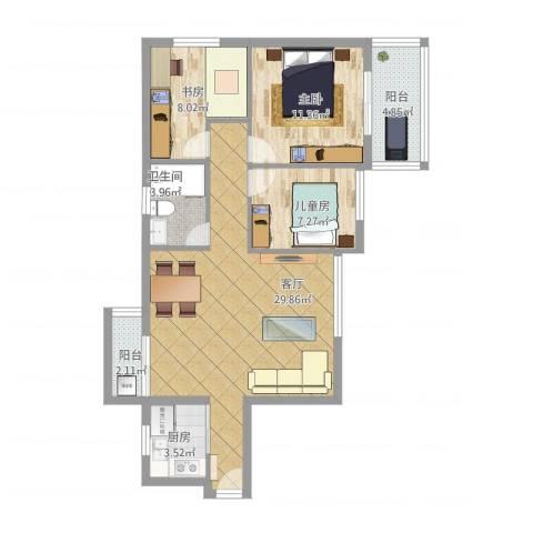 华景花园3室1厅1卫1厨101.00㎡户型图