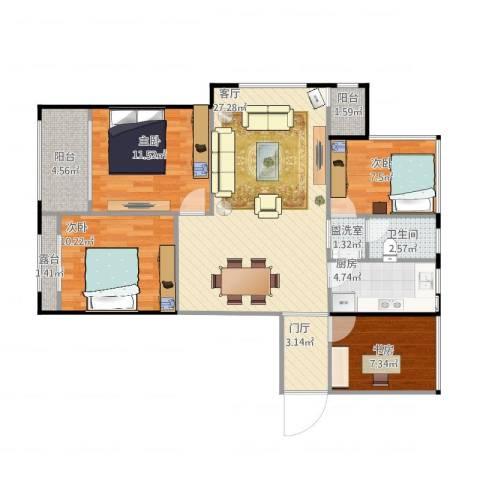 伟业迎春世家4室2厅1卫1厨114.00㎡户型图