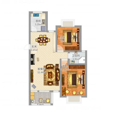 万科城峰汇2室1厅1卫1厨100.00㎡户型图