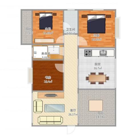 华林花园三期3室1厅1卫1厨144.00㎡户型图