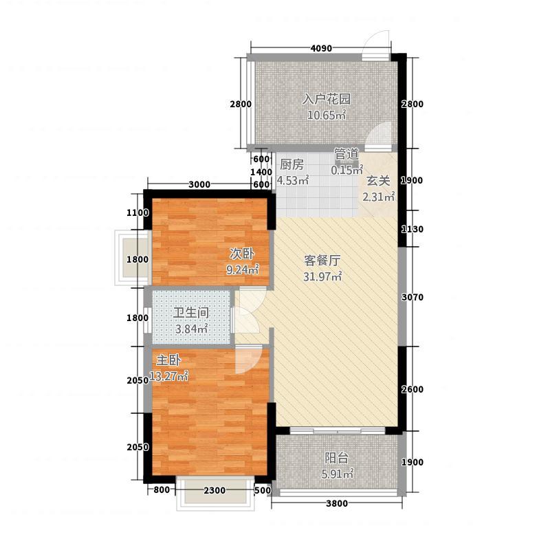 天悦华府732.62㎡三期7#楼032+户型2室2厅1卫1厨