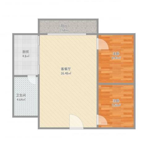 东方广场2室1厅1卫1厨75.00㎡户型图