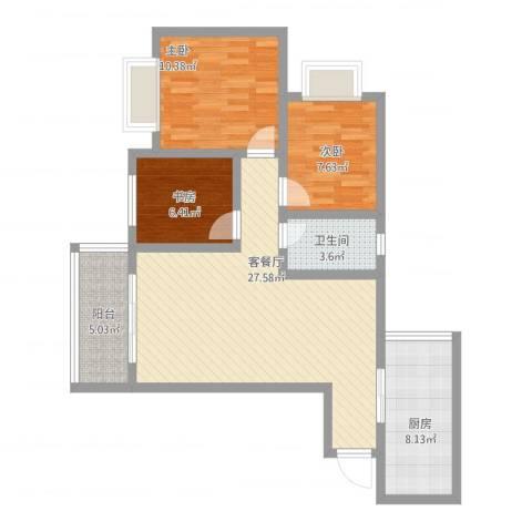 贵博江上明珠3室1厅1卫1厨101.00㎡户型图