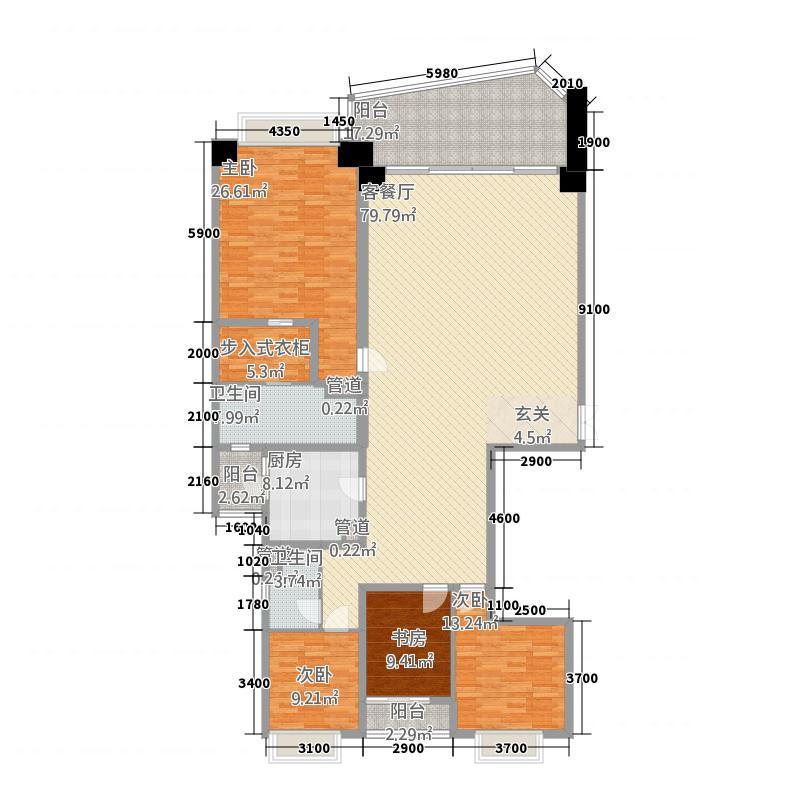 洱海天域国际公寓235.58㎡大平层B1户型4室2厅2卫1厨