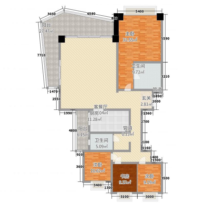 洱海天域国际公寓242.48㎡大平层A1户型4室2厅2卫1厨