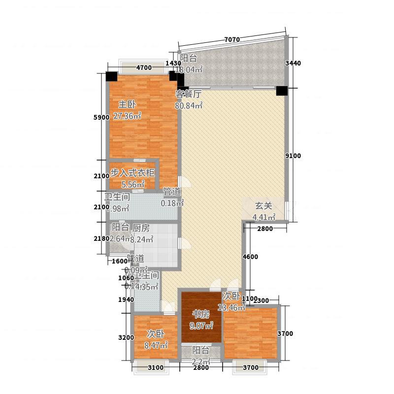 洱海天域国际公寓233.32㎡大平层C1户型4室2厅2卫1厨