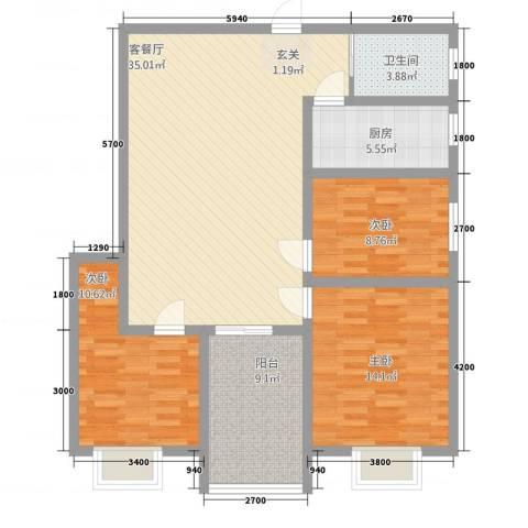 鼎福花园3室1厅1卫1厨87.02㎡户型图