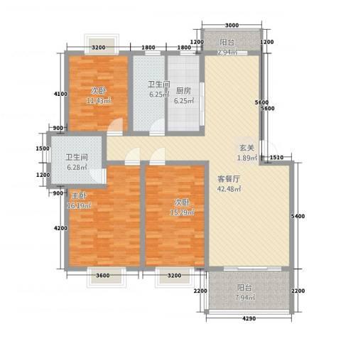 鼎福花园3室1厅2卫1厨115.04㎡户型图