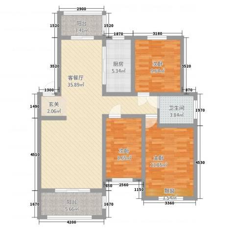 渝水印象3室1厅1卫1厨125.00㎡户型图