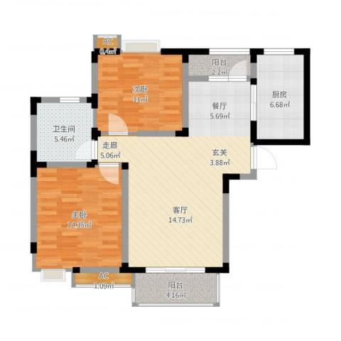 吴淞新村2室1厅1卫1厨108.00㎡户型图