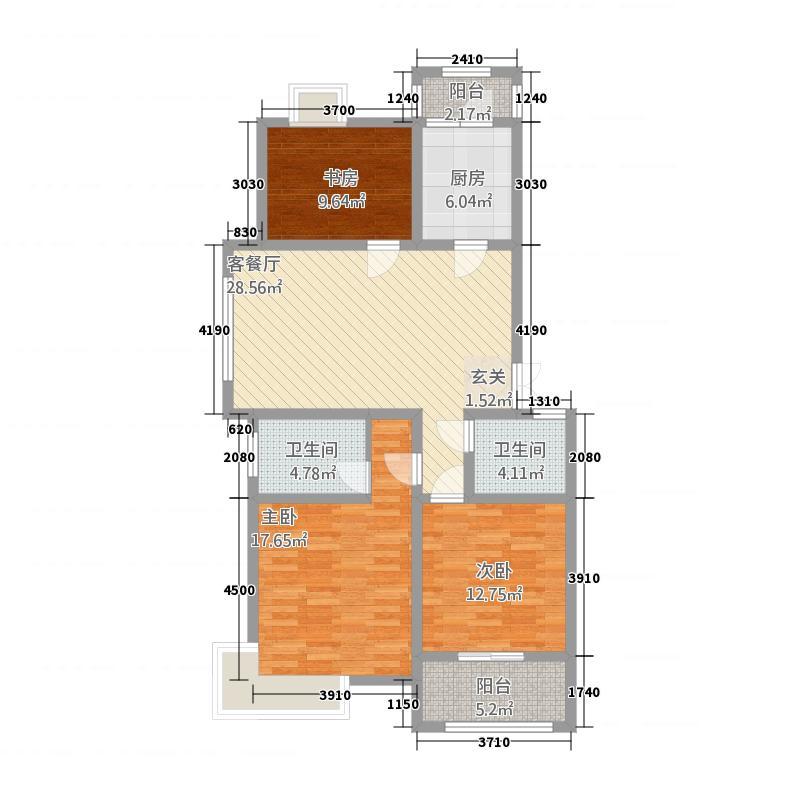 渝水印象A1户型3室2厅2卫1厨