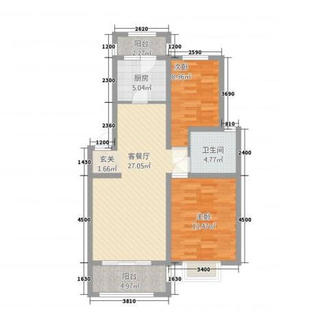 渝水印象2室1厅1卫1厨96.00㎡户型图