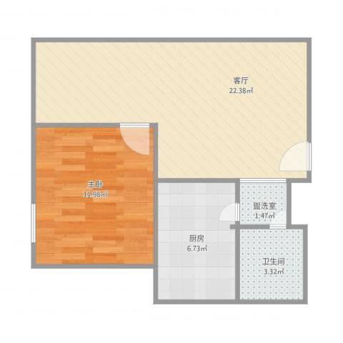 中航国际交流中心1室2厅1卫1厨62.00㎡户型图