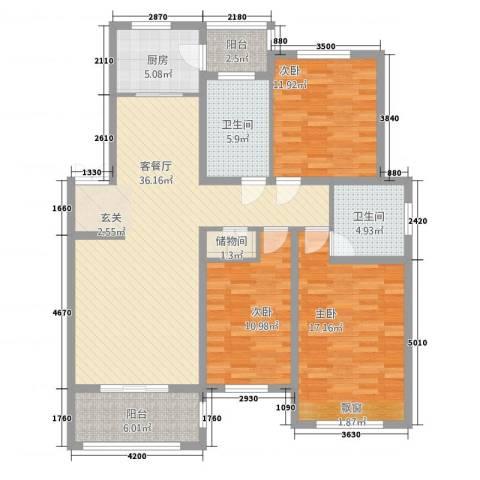 渝水印象3室1厅2卫1厨146.00㎡户型图