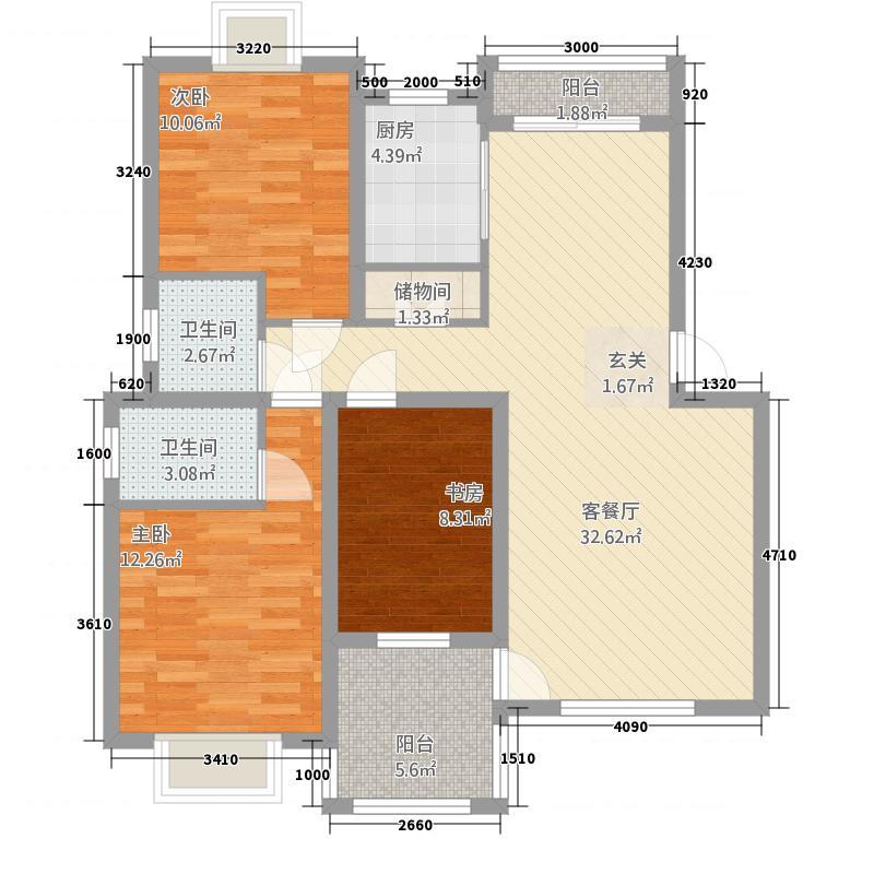 渝水华庭118.51㎡户型3室2厅2卫1厨
