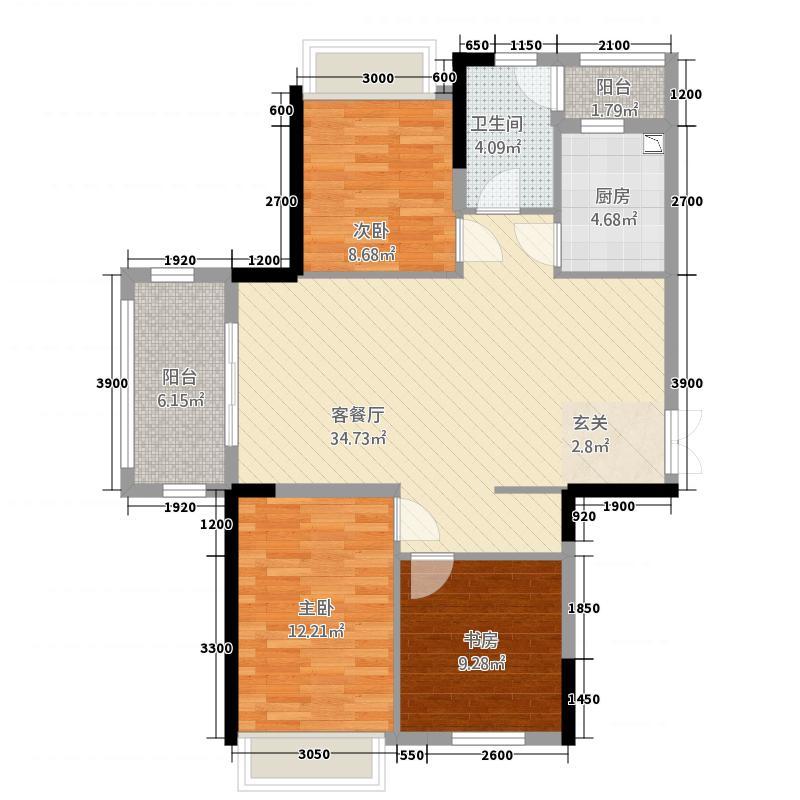 童宾景苑11.62㎡11062双阳台户型3室2厅1卫1厨