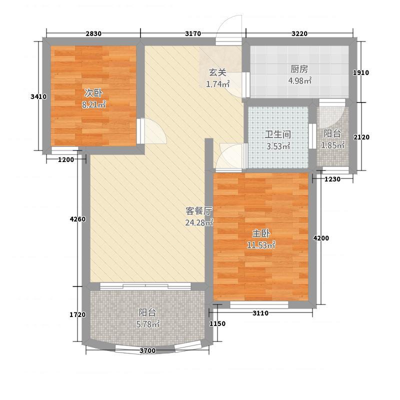 山河源墅二期88.00㎡B户型2室2厅1卫1厨
