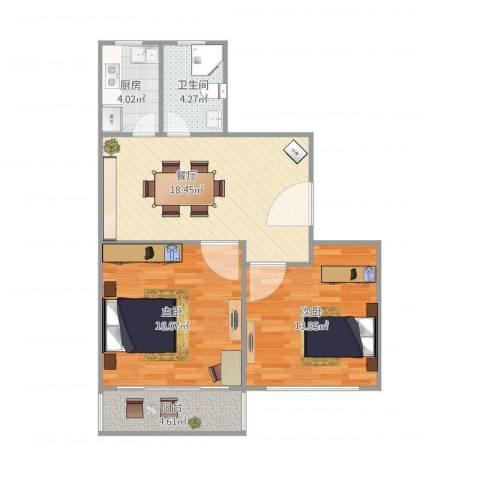 紫叶小区2室1厅1卫1厨82.00㎡户型图