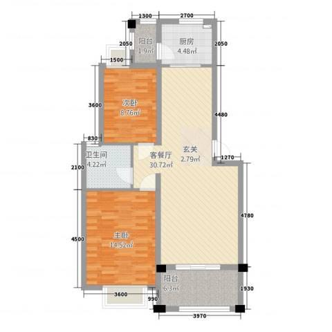 绿江南2室1厅1卫1厨85.00㎡户型图
