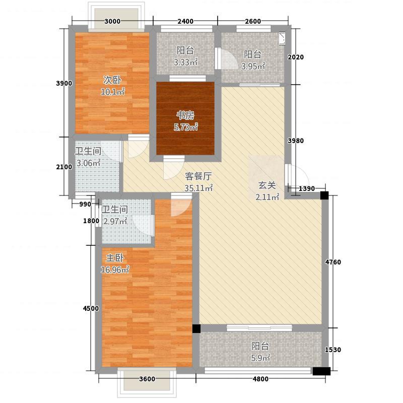 绿江南15.00㎡D户型3室2厅2卫1厨