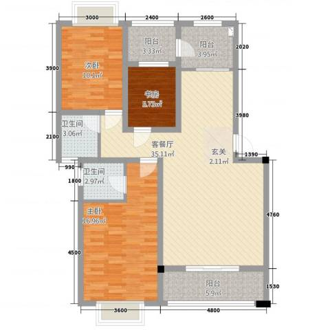 绿江南3室1厅2卫0厨87.38㎡户型图