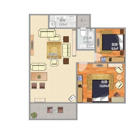水岸花都2室1厅1卫1厨95.00㎡户型图