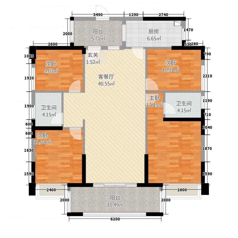 嘉燕橘州明珠15.70㎡A2栋02户型4室2厅2卫1厨