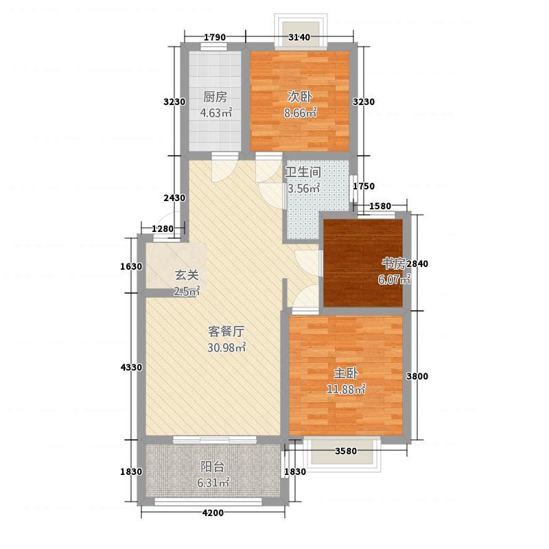 渝水印象B户型3室2厅1卫1厨