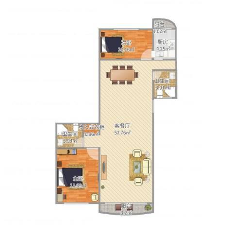 锦绣苑2室1厅2卫1厨128.00㎡户型图