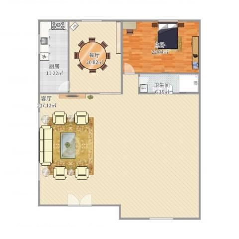 新新家园1室2厅1卫1厨218.00㎡户型图