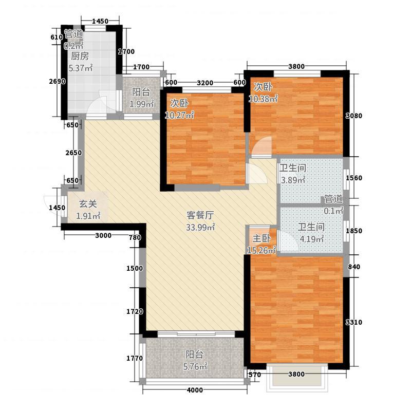 恒大名都1332127.88㎡-户型3室2厅2卫1厨