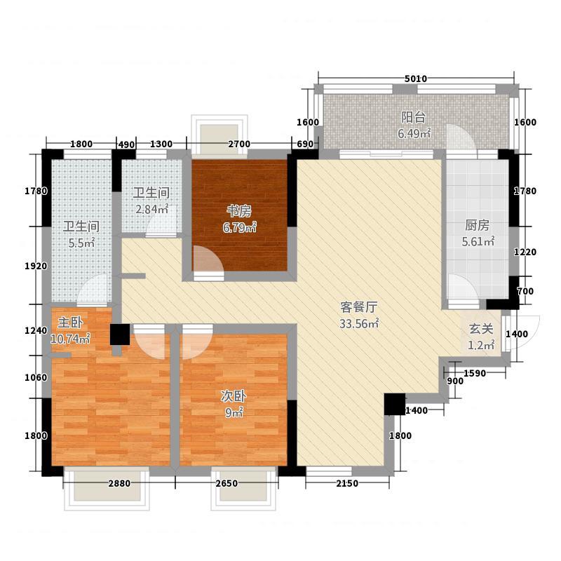 龙女湖・国际滨江大社区11.88㎡E户型3室2厅2卫1厨