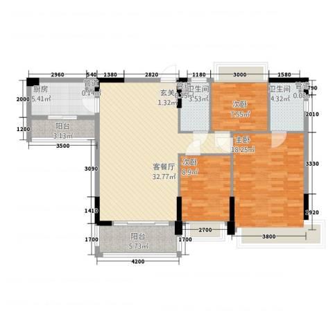 华南城十里东岸四期・绿卡3室1厅2卫1厨111.00㎡户型图