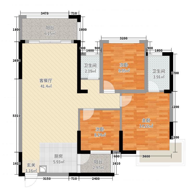 中央花园2218.88㎡2#楼02号房2+户型2室2厅2卫1厨