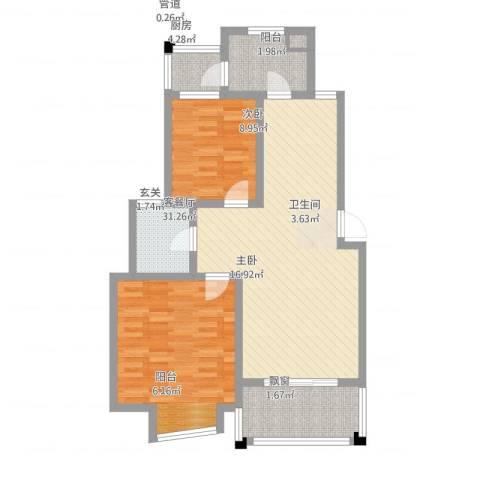 仁和英伦皇家花园2室1厅1卫1厨106.00㎡户型图