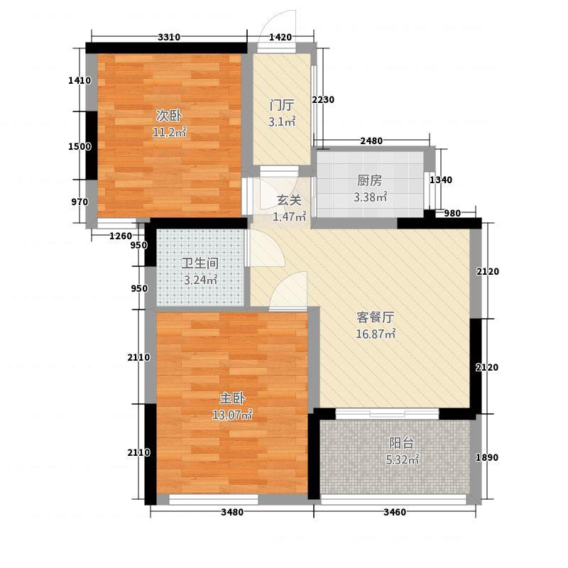 江中・盛世峰景81.12㎡8112户型2室2厅1卫1厨