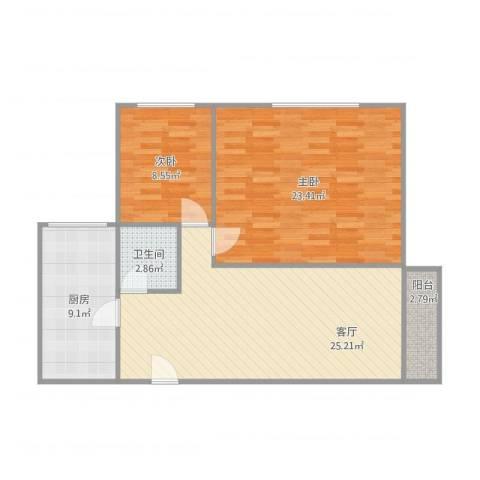 嘉园三里2室1厅1卫1厨96.00㎡户型图