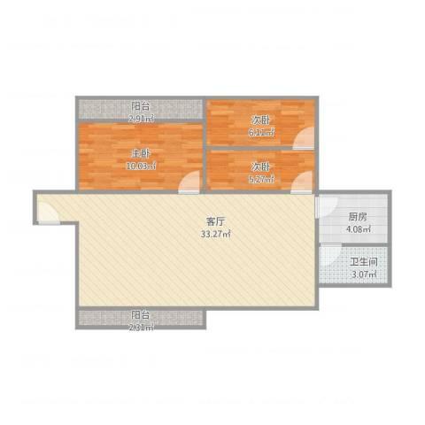 珠江小区3室1厅1卫1厨91.00㎡户型图