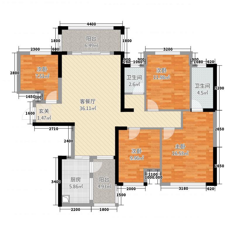 中央花园14122.64㎡1#楼4单元02号房3+3室户型3室2厅2卫1厨